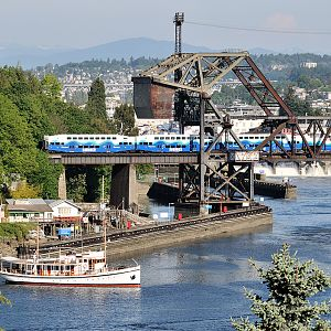 Sound Transit crossing the Salmon Bay Drawbridge