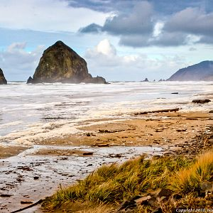 Haystack Rock on a Blustery Winter Day