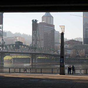Hawthorne Bridge from Riverwalk
